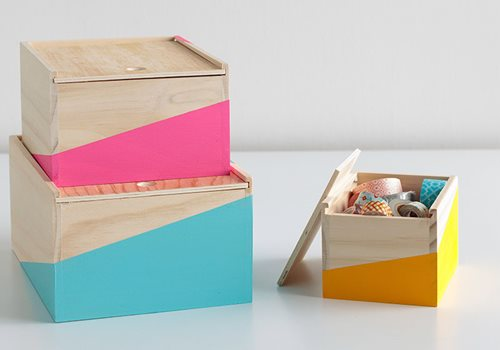 Color-blocked Desktop Storage Boxes DIY Office Decor