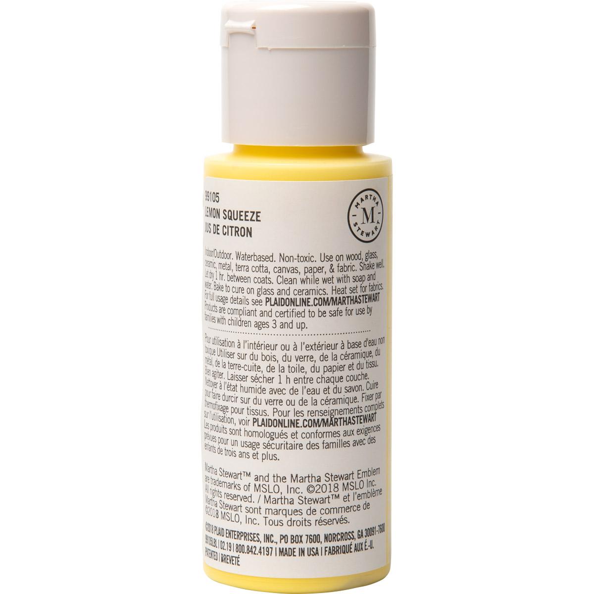 Martha Stewart® 2oz Multi-Surface Satin Acrylic Craft Paint - Lemon Squeeze