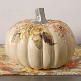 Pumpkin Decoupage with Fabric