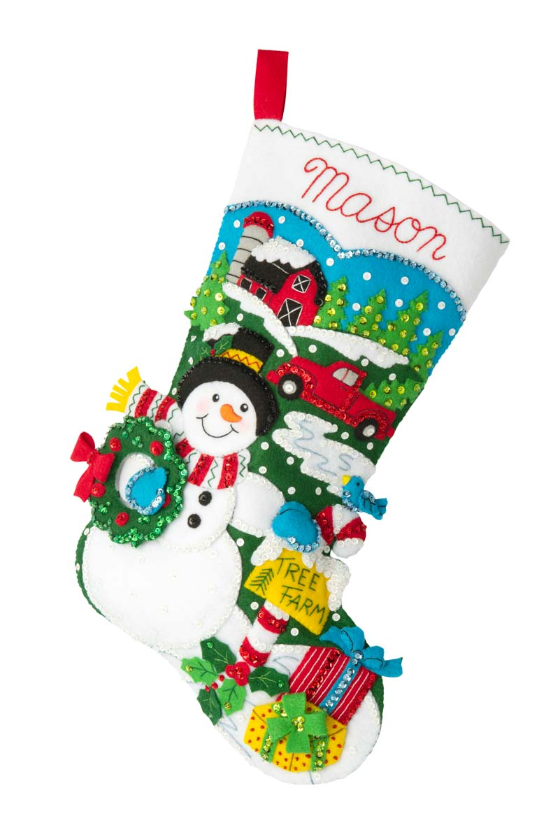 Bucilla ® Seasonal - Felt - Stocking Kits - Tree Farm Snowman - 89316E