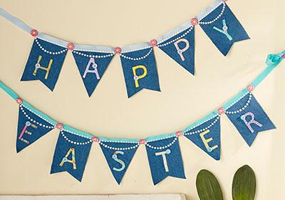 DIY Happy Easter Pennant Banner