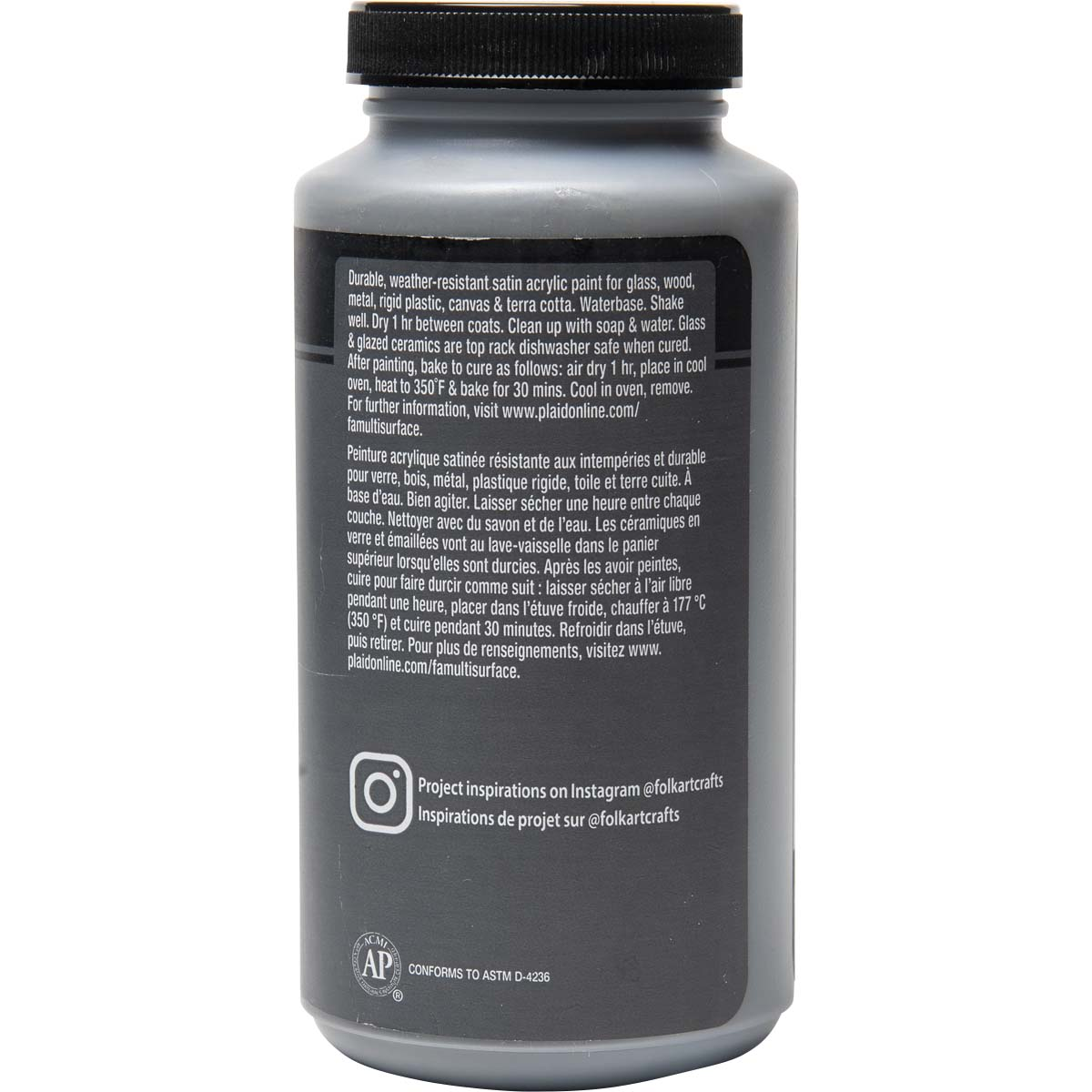 FolkArt ® Multi-Surface Satin Acrylic Paints - Medium Gray, 16 oz.