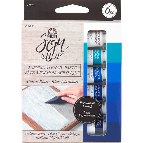 FolkArt ® Sign Shop™ Acrylic Stencil Paste Set - Classic Blues, 6 pc. - 11975