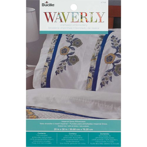 Bucilla Waverly Imperial Dress Collection Stamped Pillowcase Pair
