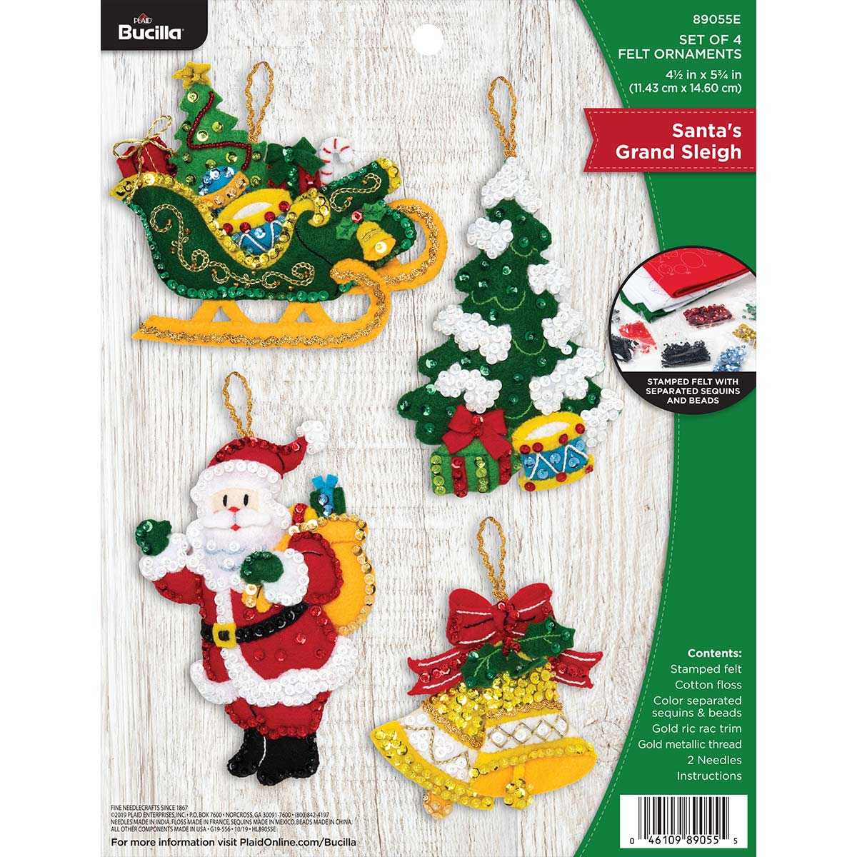 Bucilla 89055E Santa/'s Grand Sleigh Felt Applique Ornament Kit
