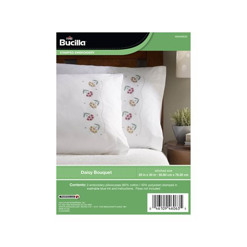 Bucilla ® Stamped Cross Stitch & Embroidery - Pillowcase Pairs - Daisy Bouquet