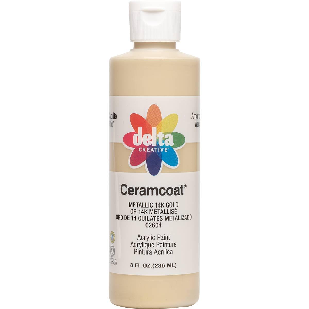 Delta Ceramcoat ® Acrylic Paint - Metallic 14K Gold, 8 oz.
