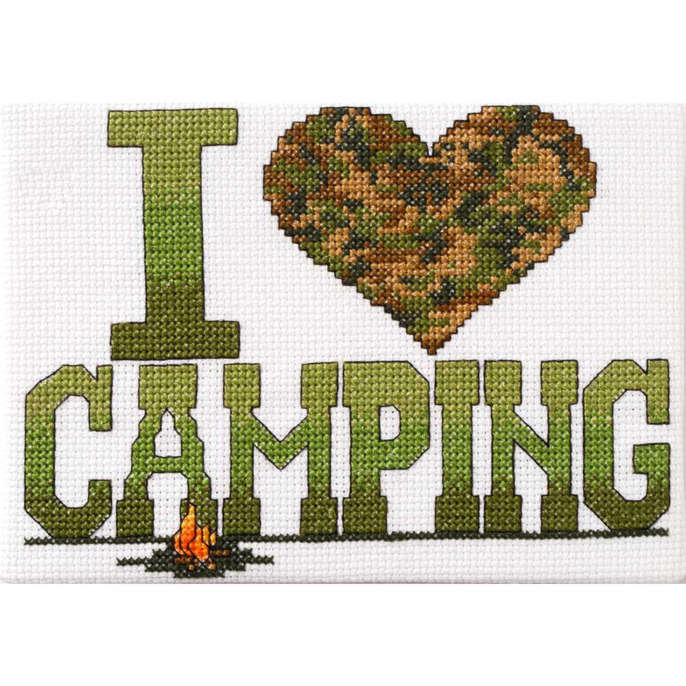 Bucilla ® Counted Cross Stitch - Picture Kits - Mini - I Love Camping