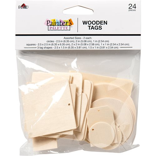 Plaid ® Painter's Palette™ Wood Tags, 24 pc. - 23148