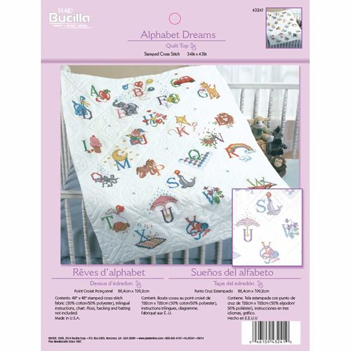Bucilla ® Baby - Stamped Cross Stitch - Crib Ensembles - Alphabet Dreams - Quilt Top