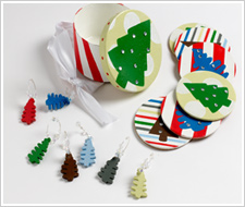 Christmas Tree Coaster and Wine Marker Set