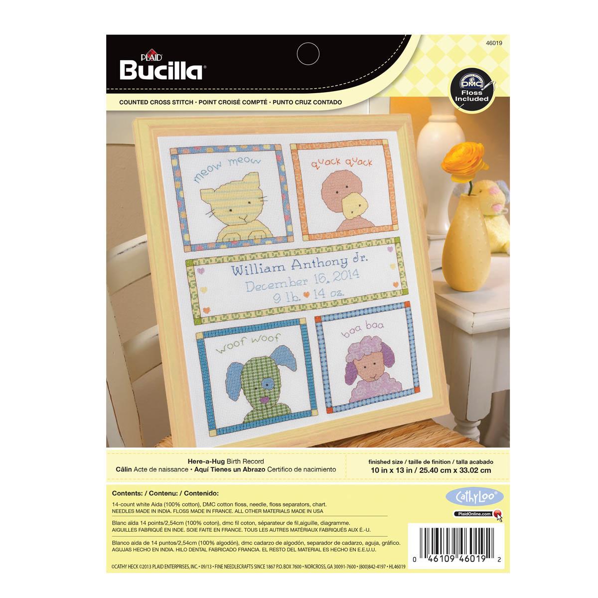 Bucilla ® Baby - Counted Cross Stitch - Crib Ensembles - Here-A-Hug - Birth Record Kit