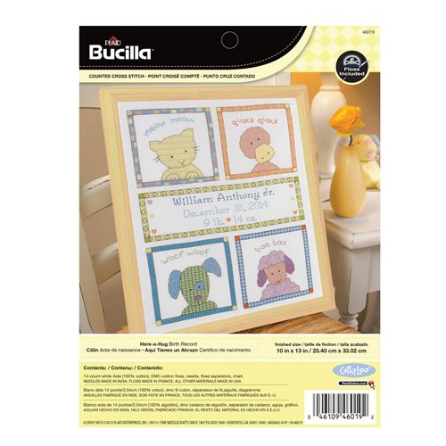 Bucilla ® Baby - Counted Cross Stitch - Crib Ensembles - Here-A-Hug - Birth Record Kit