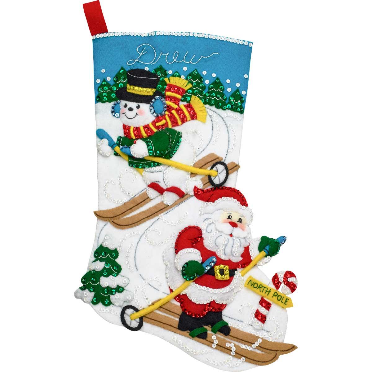 Bucilla ® Seasonal - Felt - Stocking Kits - Downhill Skiers - 86932E