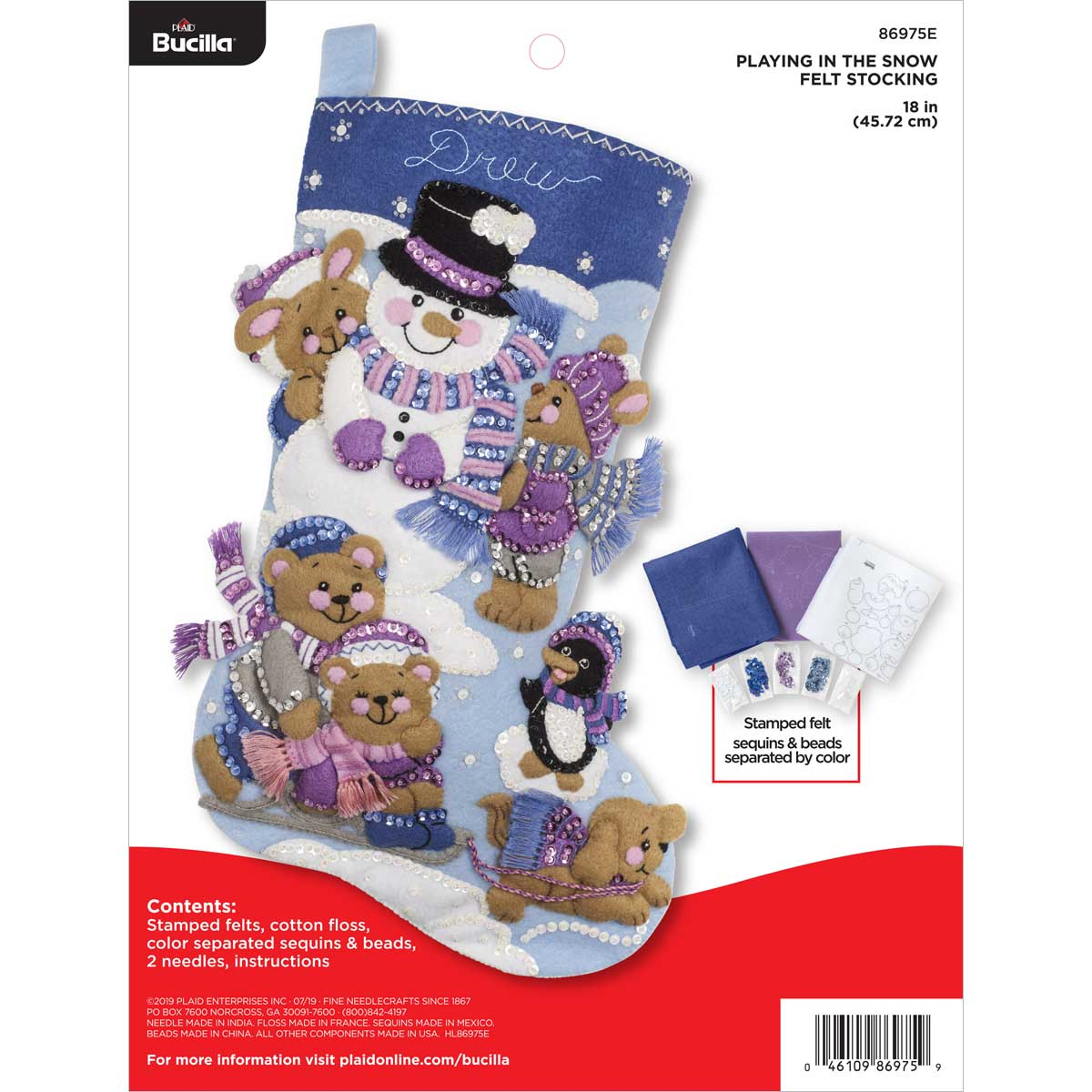 Bucilla ® Seasonal - Felt - Stocking Kits - Playing in the Snow - 86975E
