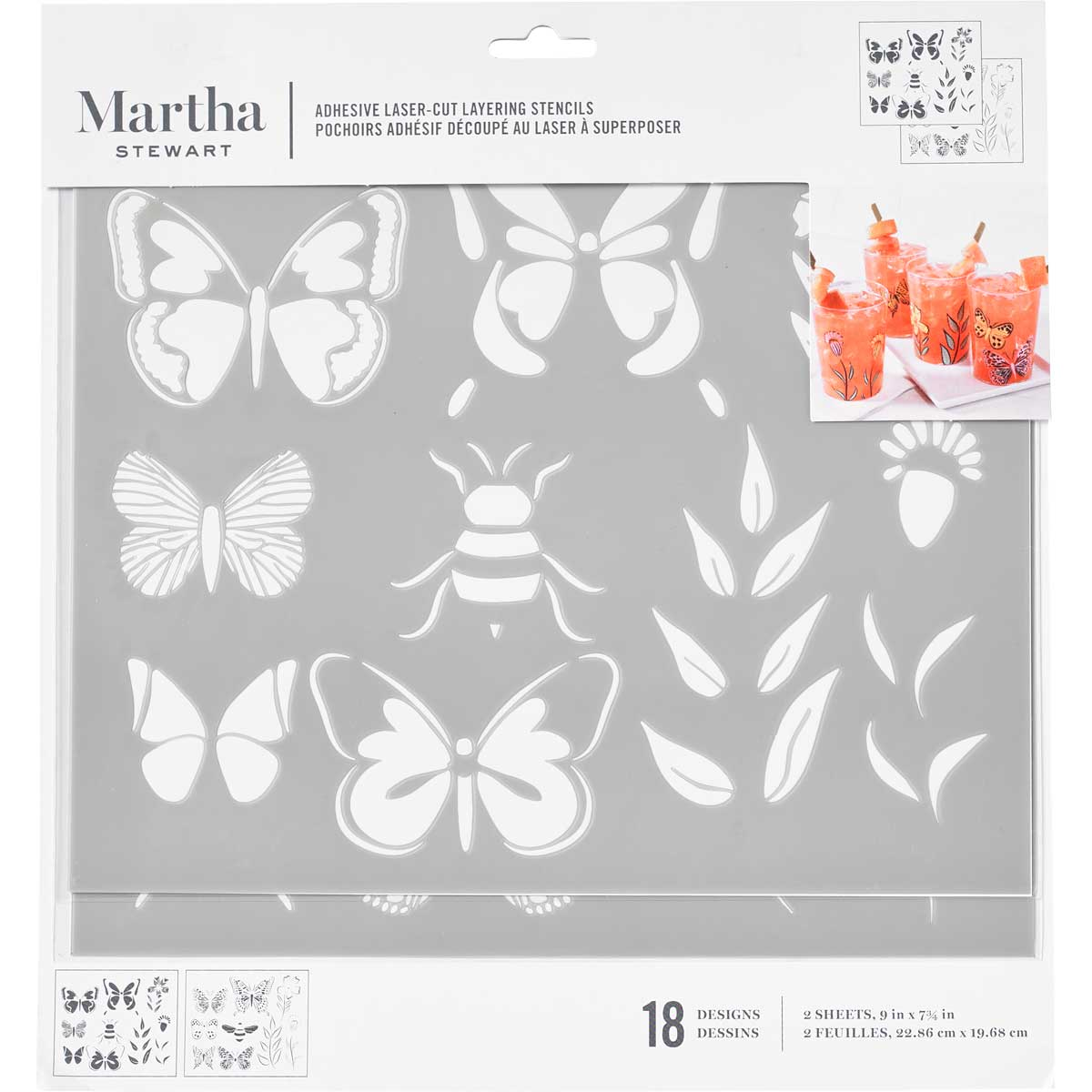 Martha Stewart ® Adhesive Stencil - Butterflies and Bees - 17633
