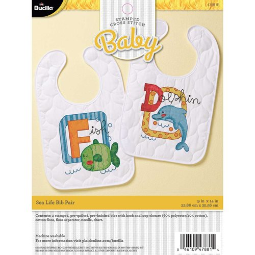 Bucilla ® Baby - Stamped Cross Stitch - Crib Ensembles - Sea Life - Bib Pair Kit