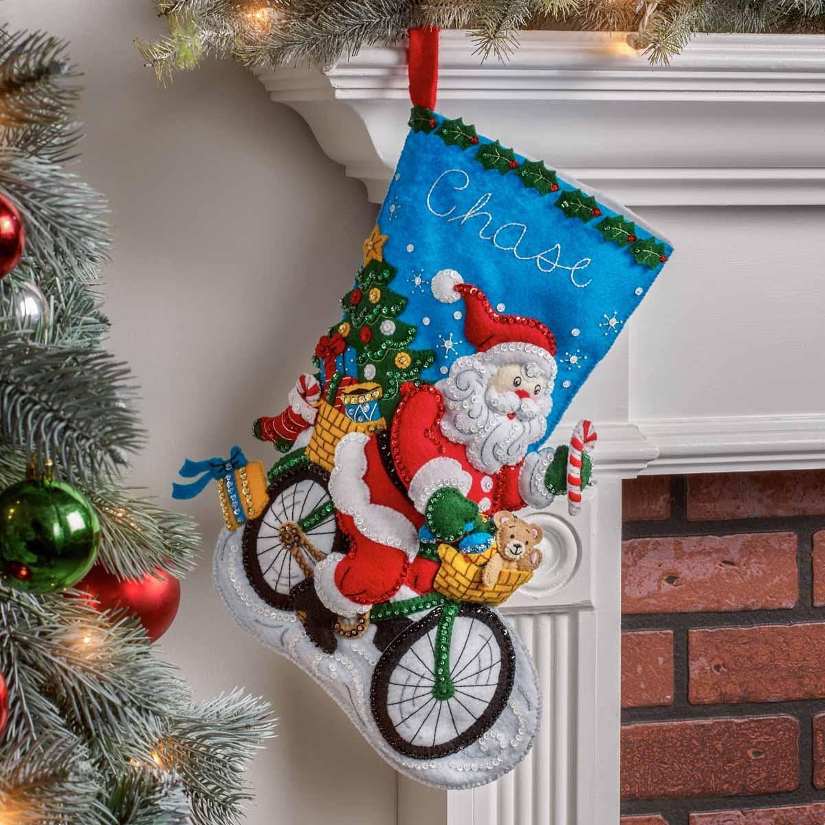 Bucilla ® Seasonal - Felt - Stocking Kits - Santa on the Go - 89249E