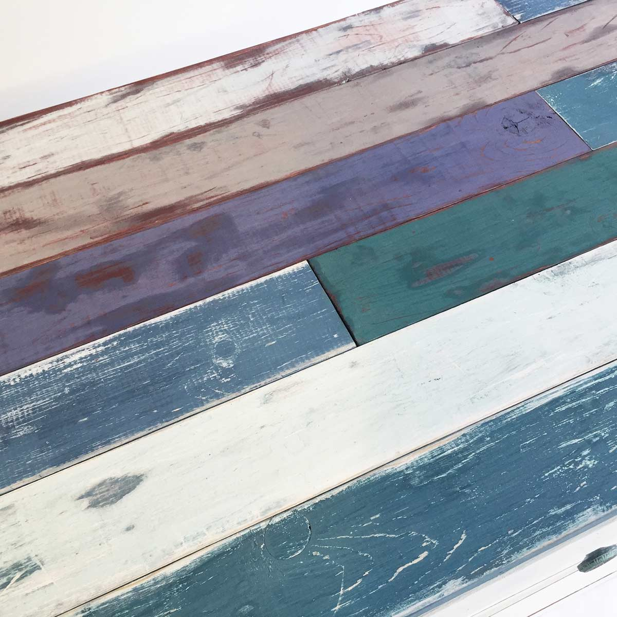 Distressed Milk Paint Beach Wood Coffee Table