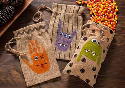 Monster Handprint Treat Bags