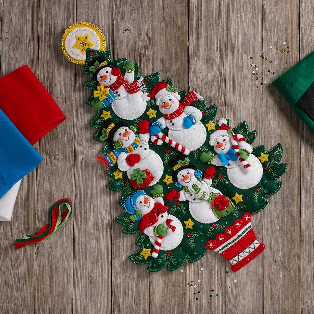 Bucilla ® Seasonal - Felt - Home Decor - Door/Wall Hanging Kits - Snowman Tree