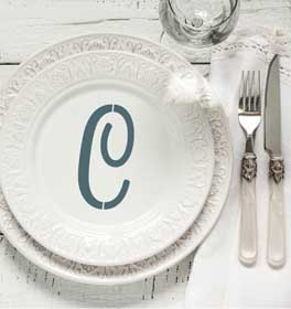 Italic Monogram Decorative Dinner Plate