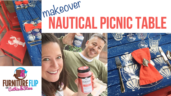 Cathie and Steve Furniture Flip - Nautical Picnic Dining Table Set