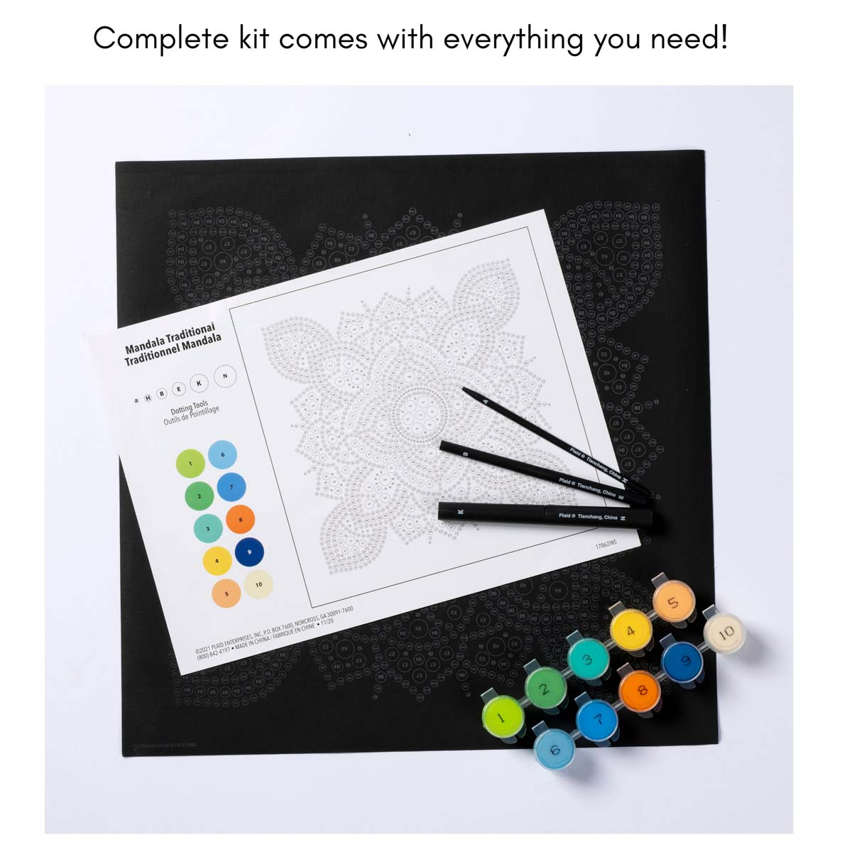 Plaid ® Let's Paint™ Mandala Dot-by-Number - Traditional - 17862