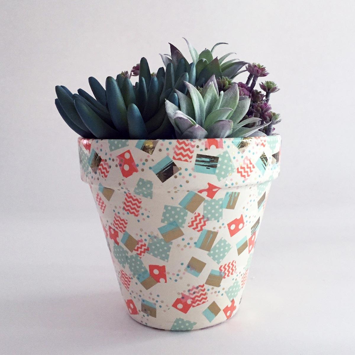 Confetti Washi Tape Clay Pot