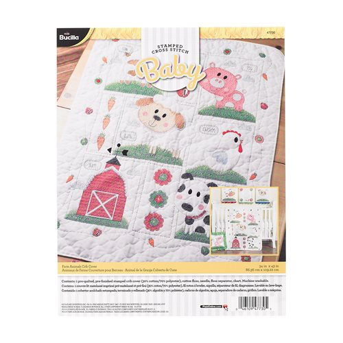 Bucilla ® Baby - Stamped Cross Stitch - Crib Ensembles - Farm Animals - Crib Cover