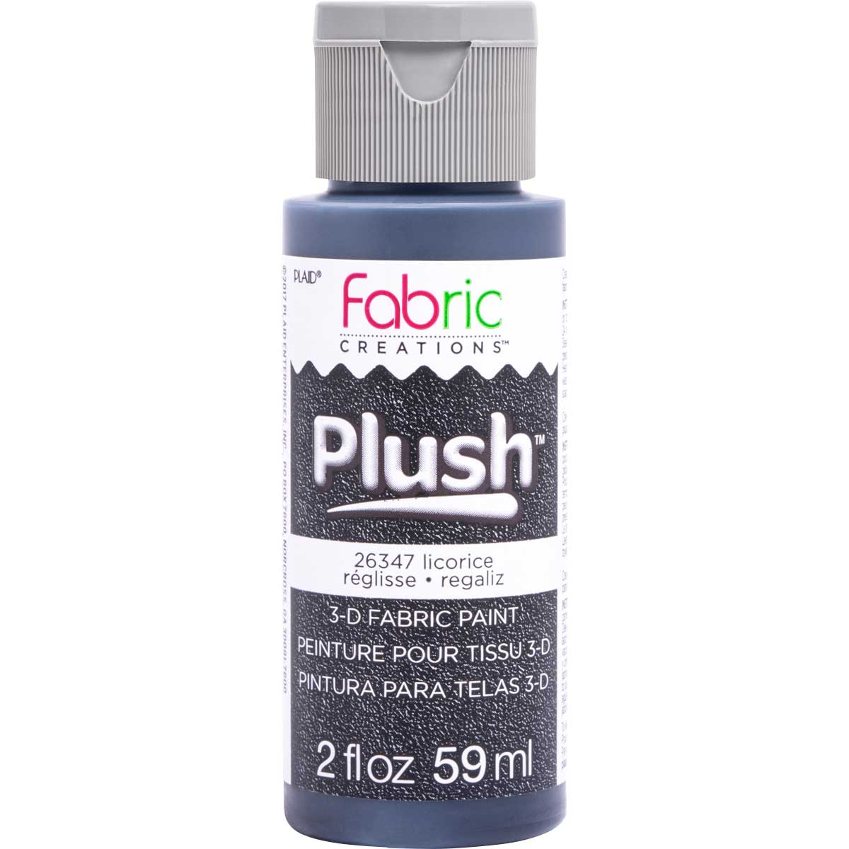 Fabric Creations™ Plush™ 3-D Fabric Paints - Licorice, 2 oz.