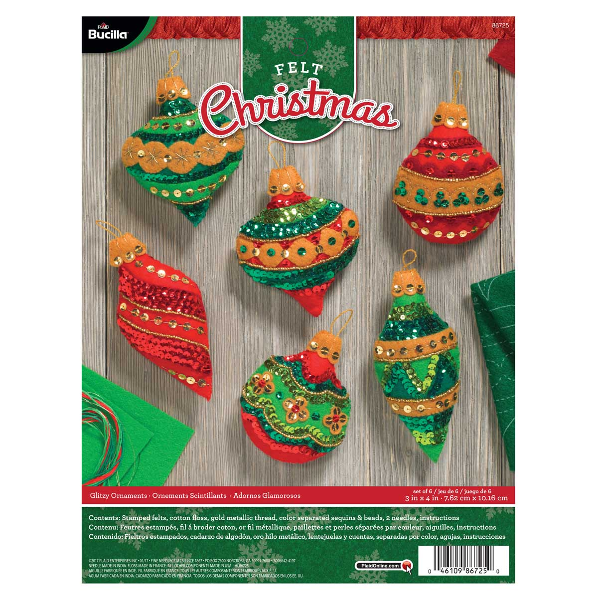 Bucilla ® Seasonal - Felt - Ornament Kits - Glitzy