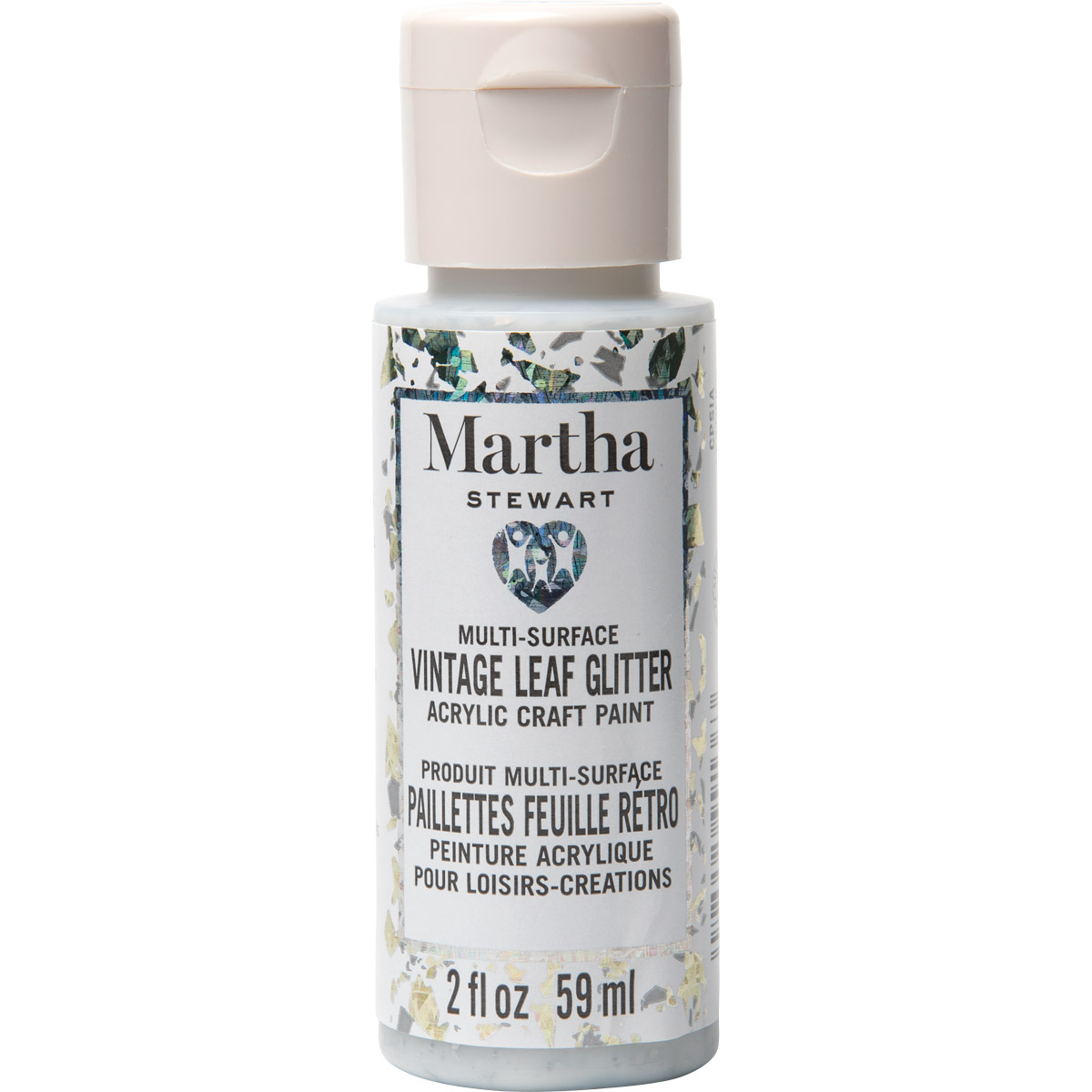 Martha Stewart® 2oz Multi-Surface Vintage Leaf Glitter Acrylic Craft Paint - Iridescent Silver