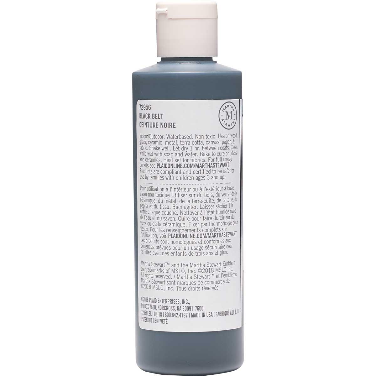 Martha Stewart ® Multi-Surface Satin Acrylic Craft Paint CPSIA - Black Belt, 8 oz. - 72956