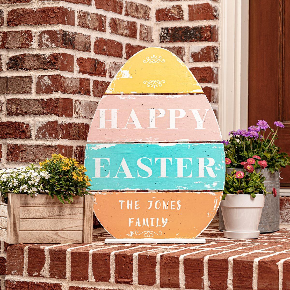 Happy Easter Large Wooden Egg Sign