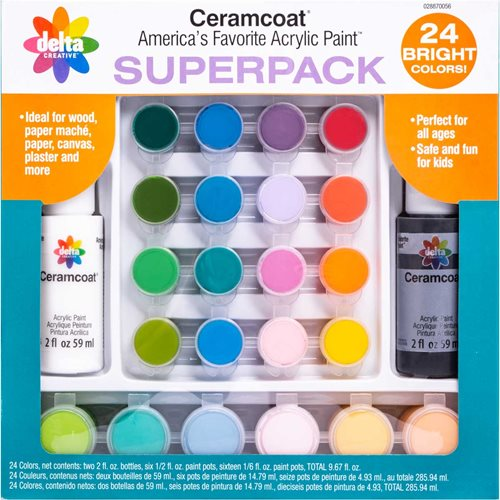 Delta Ceramcoat ® Paint Superpack Set - Brights, 24 Colors