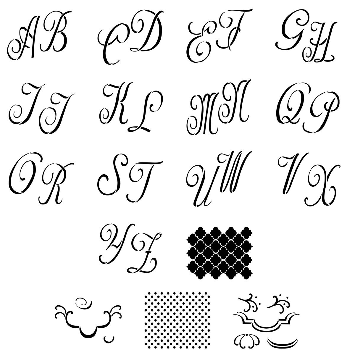 FolkArt ® Alphabet & Monogram Paper Stencils - Script Font, 5