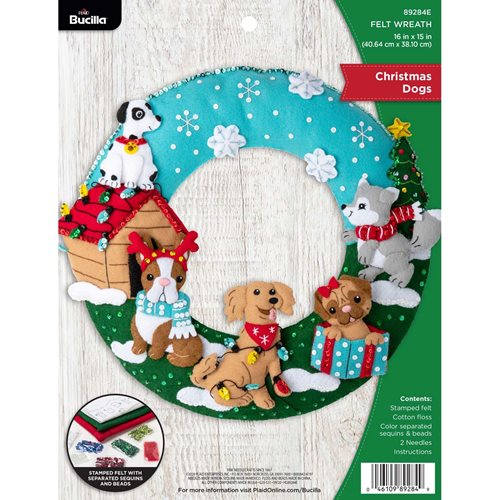 Bucilla ® Seasonal - Felt - Home Decor - Christmas Dogs Wreath - 89284E