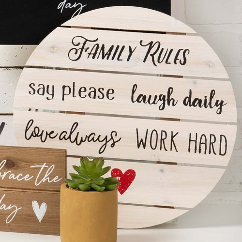 Family Rules Round Palette Sign