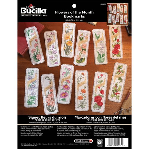 Bucilla ® Counted Cross Stitch - Picture Kits - Flowers of the Month Bookmarks