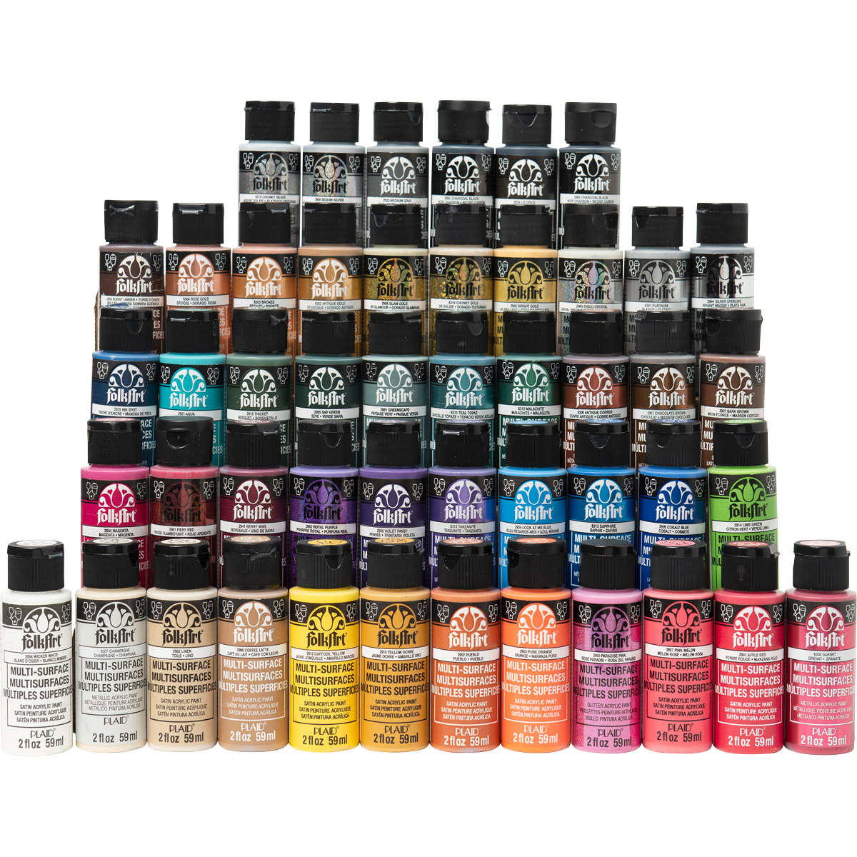 FolkArt ® One Stroke™ Multi-Surface Top 48 Colors Paint Set