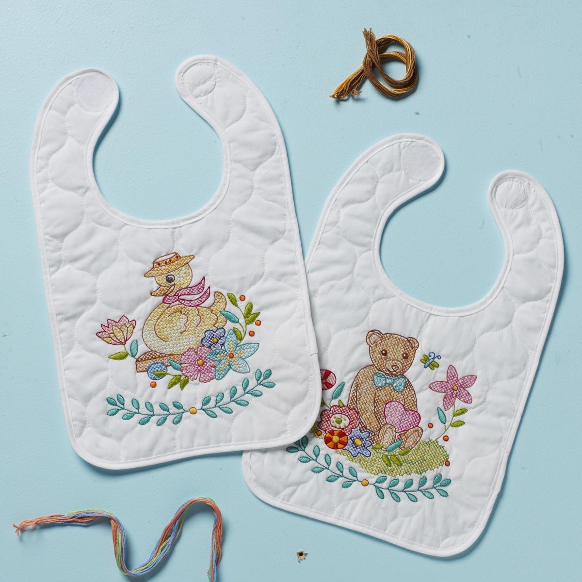 Bucilla ® Baby - Stamped Cross Stitch - Crib Ensembles - Sweet Baby - Bib Pair Kit