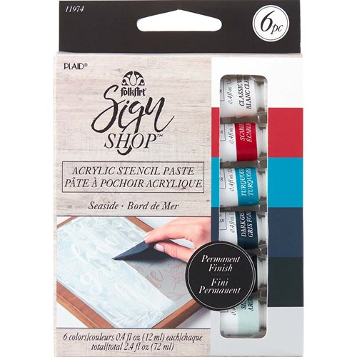 FolkArt ® Sign Shop™ Acrylic Stencil Paste Set - Seaside, 6 pc. - 11974