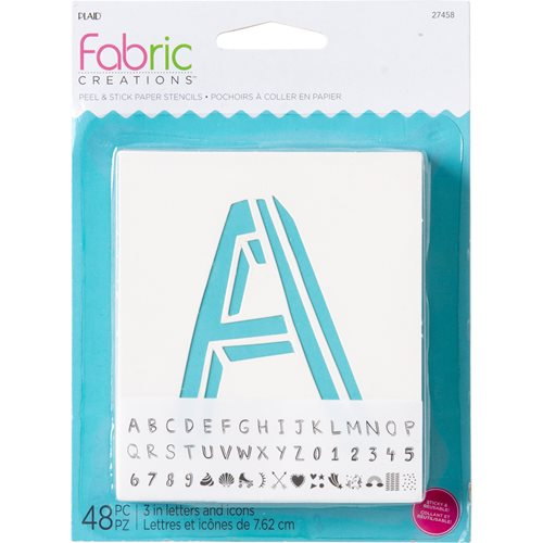 "Fabric Creations™ Adhesive Stencils - Mini - Alphabet Whimsy, 3-1/2"" x 4-1/2"" - 27458"