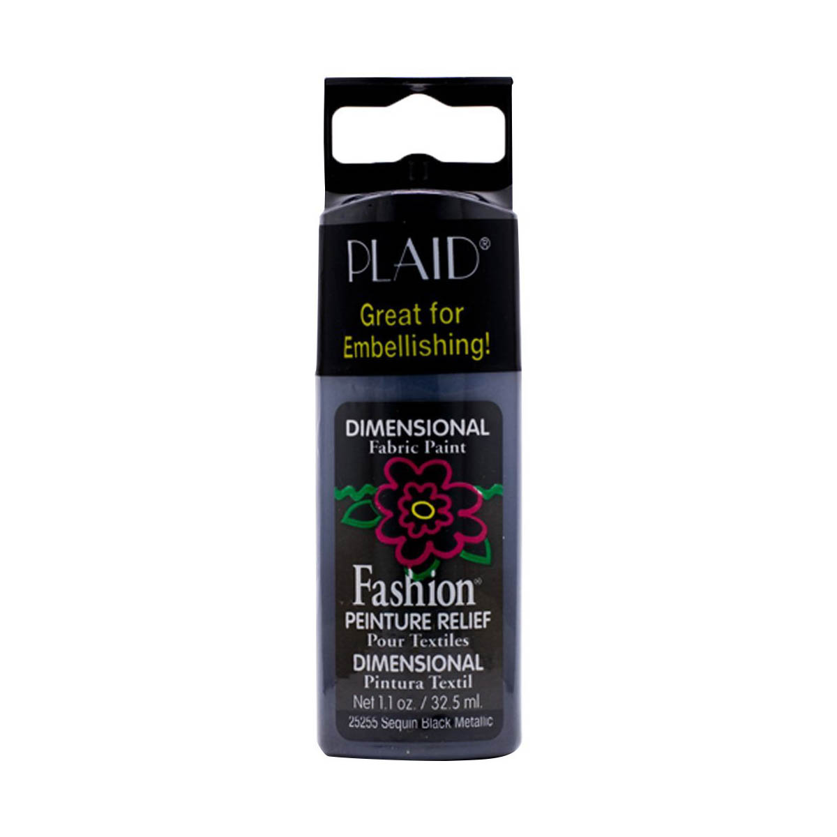 Fashion ® Dimensional Fabric Paint  - Metallic - Sequin Black - 25255