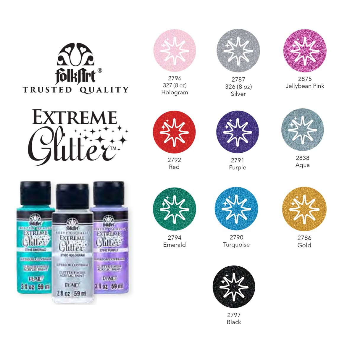 FolkArt ® Extreme Glitter™ 10 Color Set - PROMOFAGLT