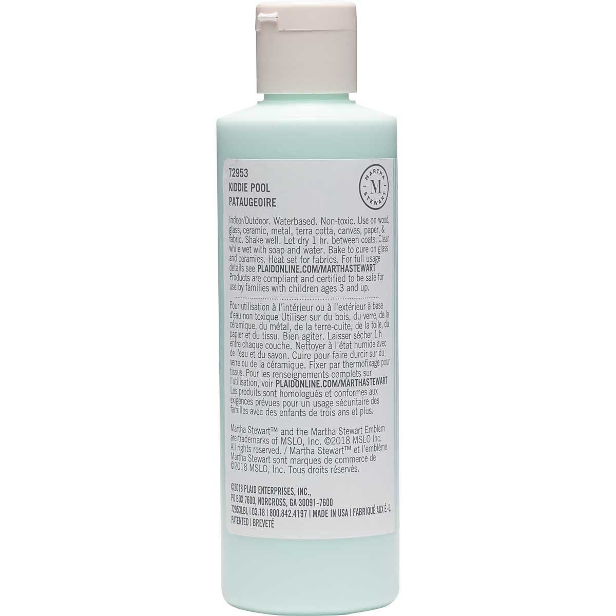 Martha Stewart ® Multi-Surface Satin Acrylic Craft Paint CPSIA - Kiddie Pool, 8 oz. - 72953