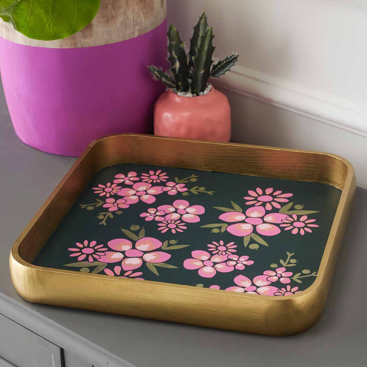 Floral Inspired Serving Tray and Vases