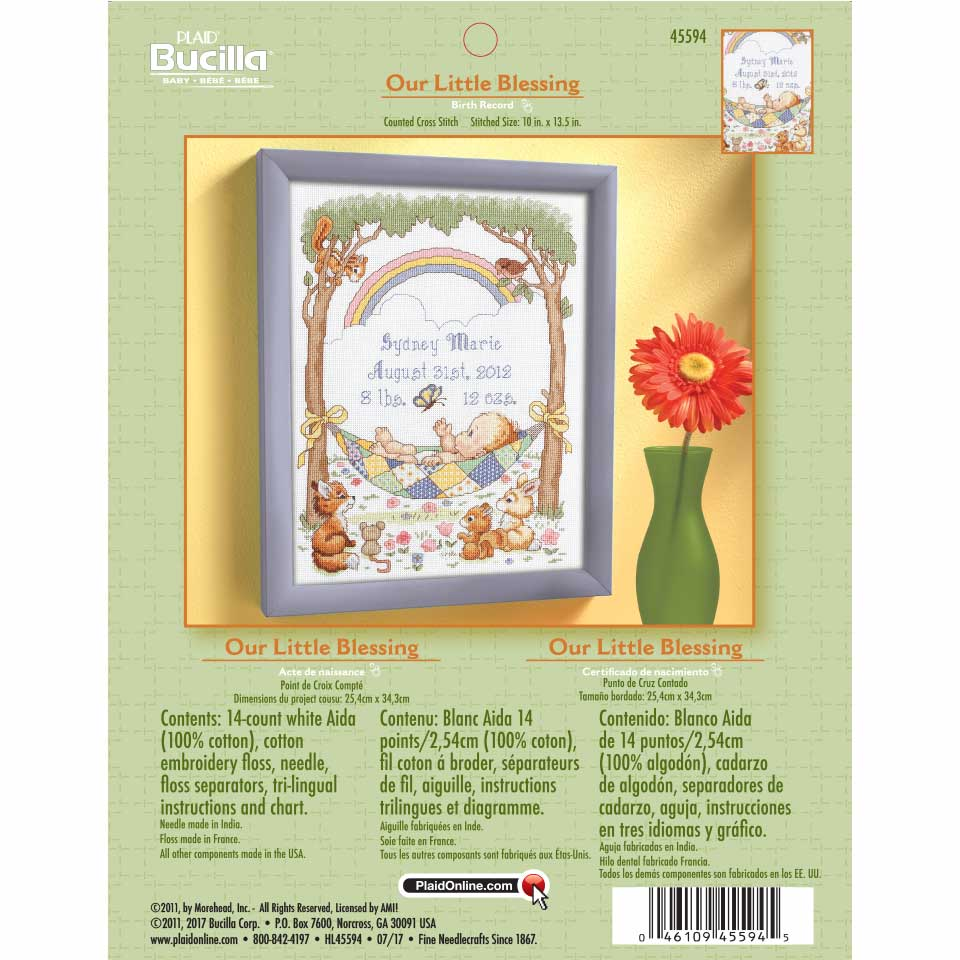 Bucilla ® Baby - Counted Cross Stitch - Crib Ensembles - Our Little Blessing - Birth Record Kit - 45