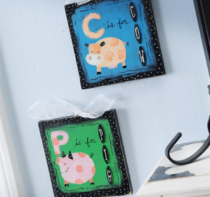 C is for Cow / P is for Pig Plaques